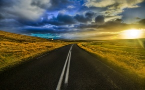 road, light, sun