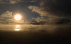 Рассвет,  солнце,  облака,  туман,  озеро,  берег,  пейзаж