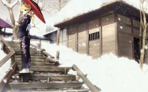 девушка, зонтик, кимоно