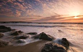 海, 石头, 天空, 日落
