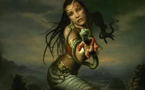 serpente, ragazza, esorcista