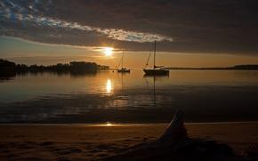 night, boat, lake