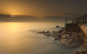 sea, fog, sunset