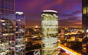 city, night, Skyscrapers