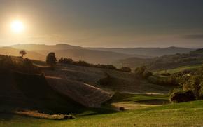 field, sky, landscape, sunrise, beauty, nature