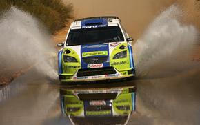 wrc,  rally,  ford focus,  вода,  брызги, автомобили, машины, авто