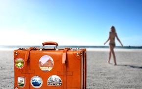 оранжевый,  цвет,  чемодан,  путешествие,  пляж,  песок,  горизонт,  девушка,  курорт