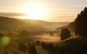 alba, mattina, nebbia, paesaggio, natura