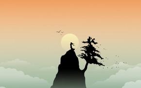 гора, солнце, вектор, минимализм