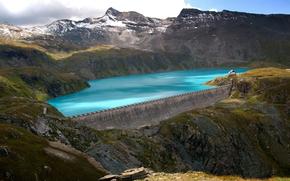 Montagne, profumatamente, nuvole, Lago