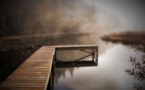 lake, bridge, fog, nature