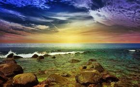 sea, coast, stones, waves