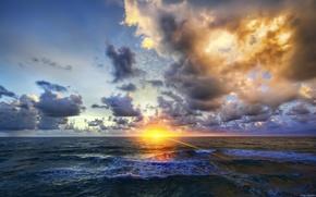 mar, ondas, puesta del sol, las nubes