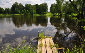 lake, bridge, nature