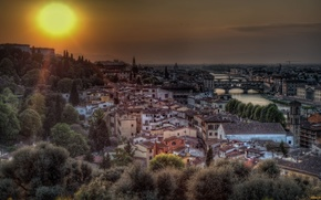Florence, Italy, italy, florence, landscape, city, sun, sunset, home, city on the water