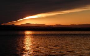 tramonto, cielo, mare, natura, paesaggio