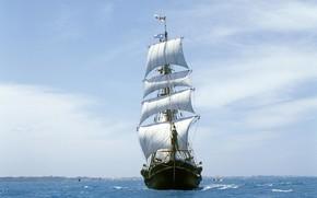 парусник, море, ветер
