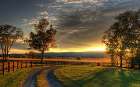sunset, nature, road, landscape
