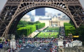tilt shift,  Париж,  город,  люди,  Эйфелева башня,  мини