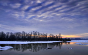 湖, 夜, 自然