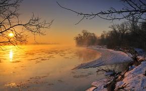 夕日, 空, 湖