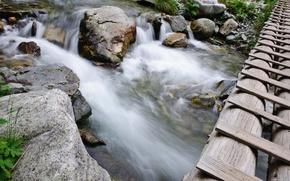 камни,  вода,  река,  течение,  мост,  бревна