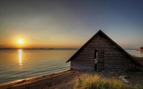 озеро,  дом,  закат,  пейзаж