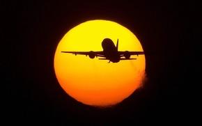 sun, plane, flight