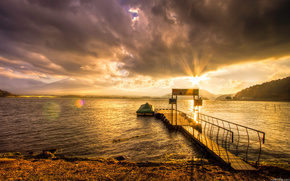 sunset, sky, clouds, wharf, boat, bay, water, sunset