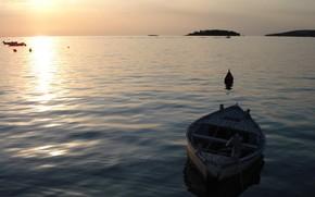 море, лодка, волны, вода, мир