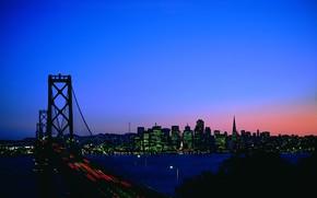 notte, ponte, semaforo