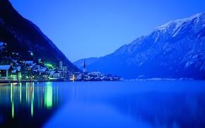 jezioro, noc, wiata