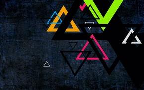 Triangoli, colore, Sfondo nero