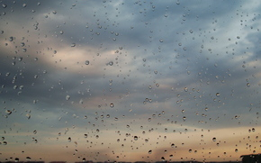 clouds, glass, drops, rain