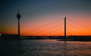 вечер, башня, мост