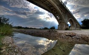 ponte, fiume, sera