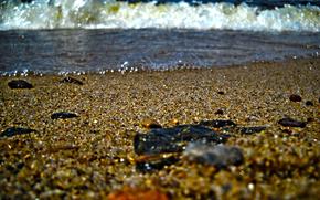 spiaggia, acqua, onde, sabbia, mare, pietre, Macro, hdr, schiuma