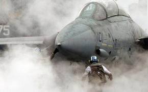приземление,  дым,  истребитель,  NAVY