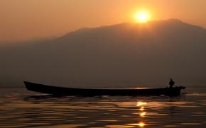 Boot, Meer, Sonnenuntergang