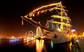 ship, night, wharf