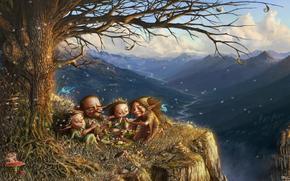 Elfi, picnic, portata, lanugine, fata