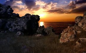 Rocks, mare, tramonto