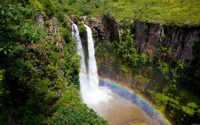 Африка,  водопад,  радуга