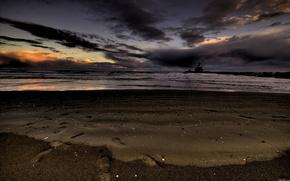 песок,  море,  небо,  ночь,  пейзаж