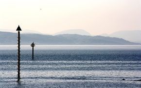 lake, column, sky