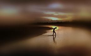 sea, silhouette, night