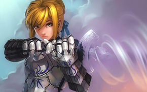 girl, armor, warrior, weapons, anime