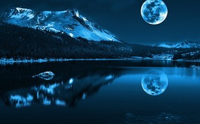 nature, landscape, sea, river, water, Mountains, snow, moon, reflection, shine