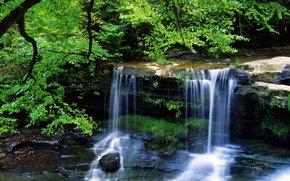 пейзаж, водопад, лето, красота