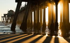 bridge, light, beach